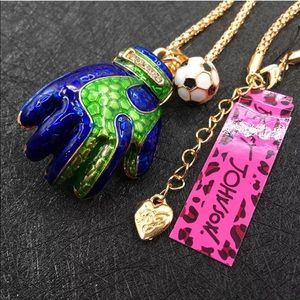 Jewelry - Blue Green Soccer Glove and soccer Ball Necklace